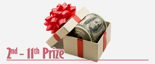 Second - Eleventh Prize: $50 in Bonus credited to the winners' accounts